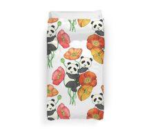 Poppies & Pandas Duvet Cover