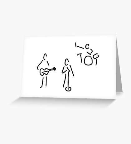 on stage with guitar and percussion Greeting Card