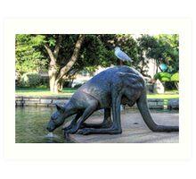 Kangaroos In The City 1 - Perth WA - HDR Art Print