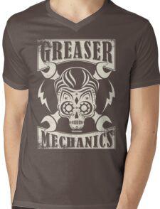 Rockabilly Greaser Mechanics Vintage Design Mens V-Neck T-Shirt