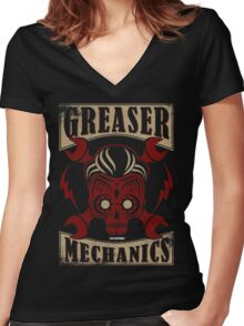Rockabilly Greaser Mechanics Vintage Design | Classic Women's Fitted V-Neck T-Shirt