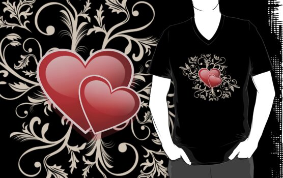 Valentine Decorative T-shirt - Two Hearts, Two Souls by ruxique