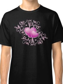 Valentine Decorative T-shirt - Two Hearts, Two Souls on Pink Classic T-Shirt