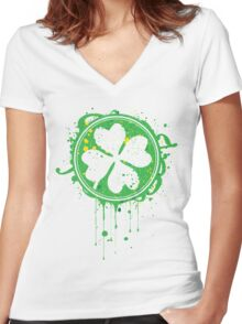Patrick's clover Women's Fitted V-Neck T-Shirt