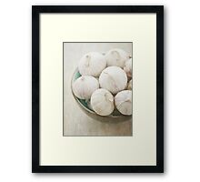 Still life of garlic in a bowl Framed Print