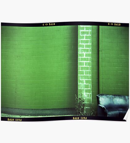 Blue Couch Green Wall Poster