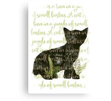 A cat is a lion in a jungle of small bushes Canvas Print