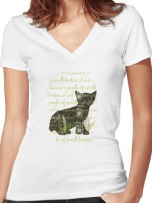 A cat is a lion in a jungle of small bushes Women's Fitted V-Neck T-Shirt