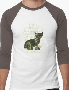 A cat is a lion in a jungle of small bushes Men's Baseball ¾ T-Shirt