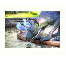 Kangaroos In The City 2 - Perth WA - HDR Art Print