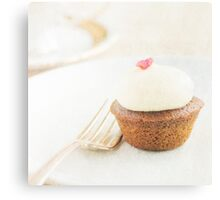 Cupcake on a plate with fork Canvas Print