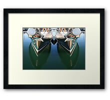 Reflections of a wooden sailing yacht, Melbourne Framed Print