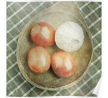 Still life of red plum tomatoes and garlic Poster