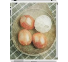 Still life of red plum tomatoes and garlic iPad Case/Skin