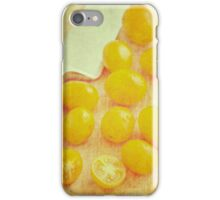 Yellow plum tomatoes and kitchen knife iPhone Case/Skin