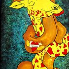 Giraffes Hugging by Chava  Light
