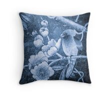 'Thoughtful Bird' from the Blue Series Throw Pillow