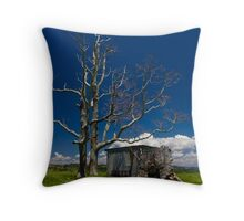 Dead Trees,Clouds and Green Grass Throw Pillow