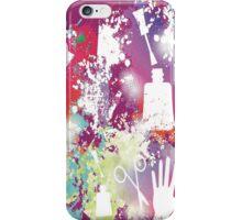 Fun girl manicure finger nail polish grunge rainbow iPhone Case/Skin