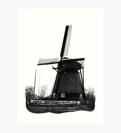 WindMill in Holland - B&W Art Print