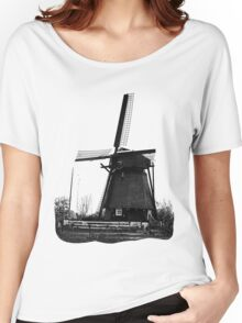WindMill in Holland - B&W Women's Relaxed Fit T-Shirt