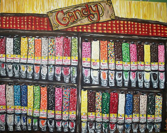 """""""Skewed Candy Store"""" by Adela Camille Sutton"""