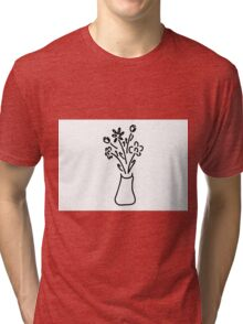 bouquet in vase with roses tulips Tri-blend T-Shirt