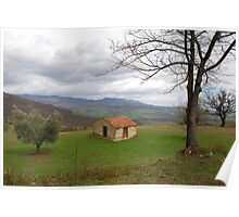 Trees and Old Hut in Tuscany  Poster