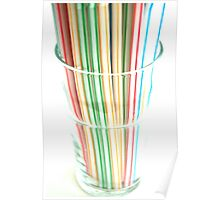 Retro Diner Red Green Yellow Stripe Milkshake Drinking Straws Poster
