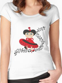 Happy lady  Women's Fitted Scoop T-Shirt