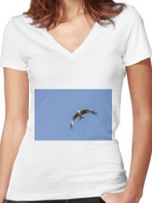 Red Kite Soaring Women's Fitted V-Neck T-Shirt
