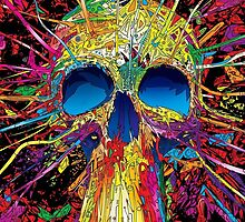 Neon Exploding skull by paperportraits