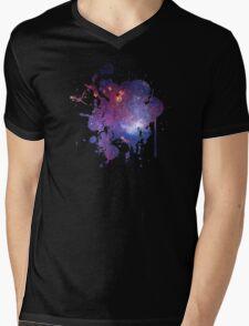 Space Splatter Two (Black) Mens V-Neck T-Shirt