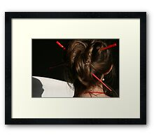 Red Chop Sticks and Pearls Framed Print