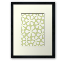 Abstract Flowers White on Lime Color Framed Print