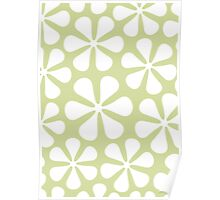 Abstract Flowers White on Lime Color Poster