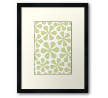 Abstract Flowers Lime Color on White Framed Print