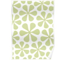 Abstract Flowers Lime Color on White Poster