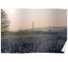 Frosty Field and Silhouet Factory Poster