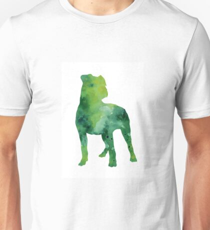 Green american staffordshire terrier poster Unisex T-Shirt