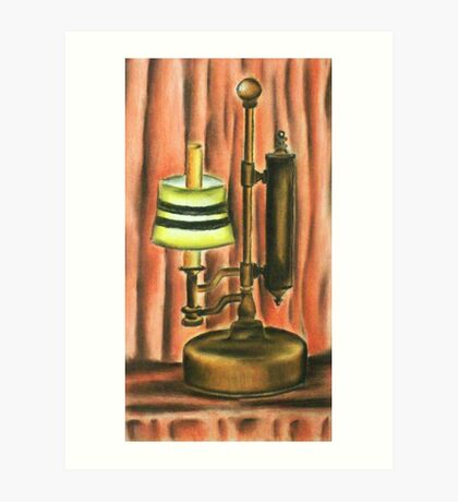 Antique lamp in colour Art Print