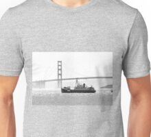 Golden Gate in Black and White Unisex T-Shirt