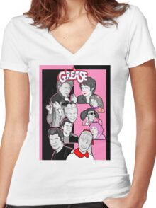 Grease tbird and pink ladies character collage Women's Fitted V-Neck T-Shirt