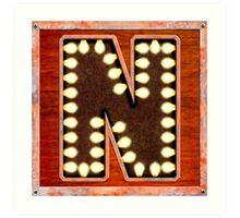 Vintage Lighted Sign - Monogram Letter N Art Print