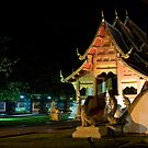 Wat Phra Singh at night by Cvail73