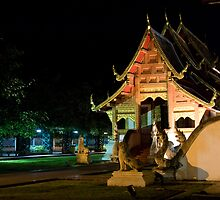Wat Phra Singh at night by Cvail73