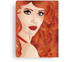 Curly red haired girl Canvas Print