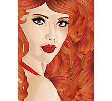 Curly red haired girl Photographic Print