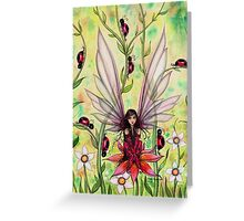Ladybug Fairy Fantasy Illustration Greeting Card