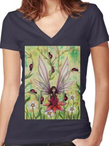 Ladybug Fairy Fantasy Illustration Women's Fitted V-Neck T-Shirt